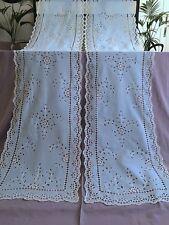 Rideaux anciens Voile de coton Brodé Cornely Bleu pâle Décor floral 1792/68