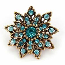 Rhinestones Crystal Flower Brooch Pins for Women in Antique Gold Plated Retro