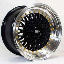 15x8 MST MT13 4x100/4x114.3 +20 Black w/Machined Lip Wheel (1)