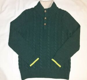 Boden Dark Green Wool Cable Knit 1/4 Button Sherpa Lined Sweater Youth Boy 11 12