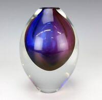 "Vintage Signed Orrefors Sweden Modernist Sommerso Cased Art Glass 6.5"" Vase SHR"