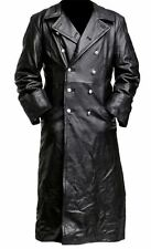 NEW MENS BLACK REAL LEATHER TRENCH COAT GERMAN CLASSIC OFFICER MILITARY UNIFORM