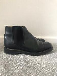 Jeffery West Boots Size 7 Black Leather Pull On Chelsea Ankle Boots EU 41