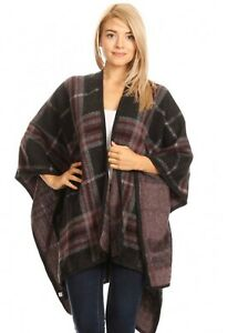 NWT WINTER SHAWL WRAP COVER UP ONE SIZE OVER SIZE FLORAL PRINT BLACK PLAID
