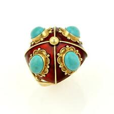 Estate Turquoise & Red Enamel 18k Yellow Gold Floral Design Dome Ring