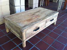 Rustic  recycled Elm Wood  coffee table with iron handles  130cm x 70cm
