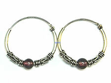 New Ladies Sterling Silver Garnet Bead Bali Creole Earrings 19mm 925 Hallmarked