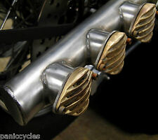 "ROUGH BRASS GRILLED 3-PORT 1-3/4"" EXHAUST TIP SS MUFFLER HARLEY BOBBER RAT ROD"