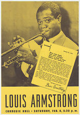 Authentic 1947 Louis Armstrong / Billie Holiday Concert Handbill / Flyer
