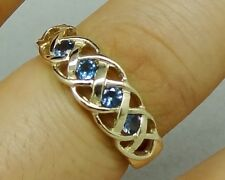 R090 Genuine 9K Gold Filligree Keltic CELTIC Natural London Blue Topaz Ring sz N