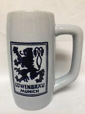 """Lowenbrau Munich Ceramic Beer Mug Ceramarte 12 Oz 6"""" Tall Oktoberfest EUC"""