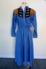 VTG Diamond L Western Wear Fringed Denim Leather Dress Costume Sz 9/10 Studded