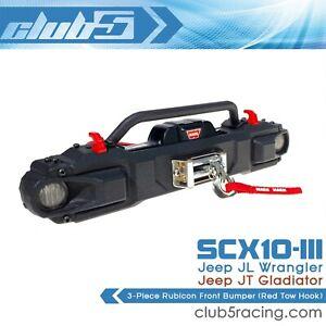 3-Piece Rubicon Bumper SCX10 III Jeep JL Wrangler / JT Gladiator( Red Tow Hook )
