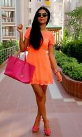 TOPSHOP Neon Orange Lace Short Sleeves Skater Mini Dress Summer Size  8