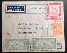 1935 Asuncion Paraguay Airmail cover To Munich Germany Via Condor