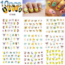 10Pcs Water Transfer DIY  Pokemon Go 3D Design Manicure Nail Art Stickers Decals