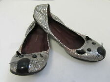 MARC BY MARC JACOBS Silver Snake Embossed Mouse Flats Size 35