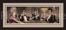 'FOUR OF A KIND'Elvis Marilyn Monroe Poker Triple Mat FRAMED-Chris Consani 19x43