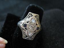 Art Deco 18k White Gold Filigree Diamond/Sapphire Accent Ring, Sz.6.75