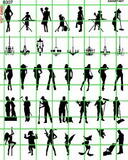8007 DAVE'S DECALS HO 1:87 SCALE WINDOW SILHOUETTE SET PEOPLE WOMEN LIGHTS MISC