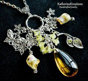 BUTTERFLY FLOWER Lampwork Glass Beads 38mm Teardrop CHARM PENDANT NECKLACE