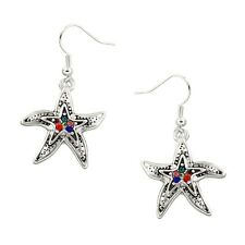 Multi-Color Starfish Fashionable Earrings - Fish Hook - Sparkling Crystal