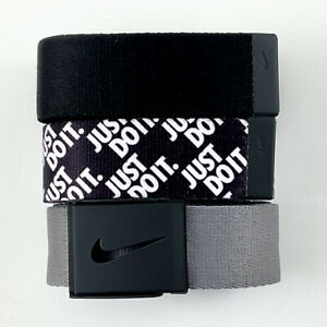NIKE MENS WEB BELT 3 IN 1 PACK JUST DO IT./BLACK/GREY TRIM TO FIT UP TO 42 20903
