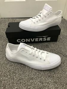 Converse All Star OX Chuck Taylor Womens & Mens Canvas Trainers Shoes White - 10