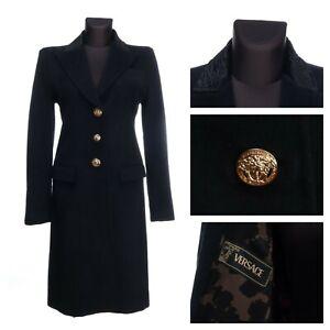 GIANNI VERSACE Italy Black Angora Mid-Length Coat + Bag Size 40