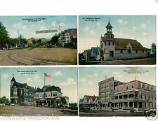 OLD ORCHARD BEACH ME 4 Antique Postcards Elite Hotel Restaurant Town Hall Church