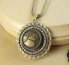 CAT LOVER metal snap button bronze large pendant w/ necklace gifts for women