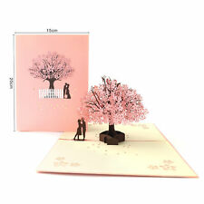 3D Pop Up Greeting Card Birthday Wedding Valentine's Day Romance Cherry Love