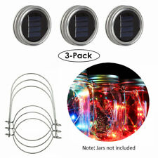 3/6pcs Solar 20 LED Mason Jar String Light Lid Insert Garden Xmas Fairy Firefly