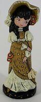 Vintage Ceramic Hand Painted Big Eye Girl Black Hair Gold Victorian Dress Bonnet