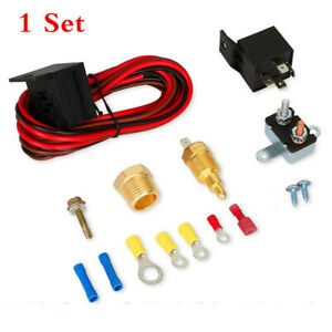 Car Electric Radiator Cooling Fan Thermostat Relay Wiring Switch Kit 185° - 170°