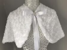 White Faux Fur Roses Cape Shrug Stole Bolero Jacket Flower Girl Communion GLAM