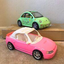 1999 Pink Barbie Ford Mustang Convertible + 2000 Mattel Barbie Volkswagen Beetle
