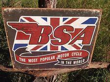 BSA Most Popular World Motorcycle Vintage Sign Tin Metal Wall Garage Rustic Old