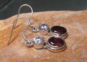 Sterling silver 5gr cut garnet & rock quartz gemstones earrings. Gift Bag.