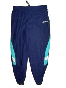 VTG Adidas 90s navy green velour track suit bottoms pants trousers L/XL
