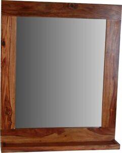 Spiegel Bhatang 65x78x12 cm Modern Glas Massivholz Sheesham Braun