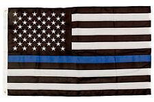W.E.Saunders&Co. Thin Blue Line Flag 3'X5' Premium Stitched Nylon Police Flag