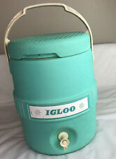 Vtg Igloo 2 Gallon Barrel Spout Thermos Snowflake Turquoise Water Jug Cooler