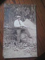 Antique/Vintage Photo  Handsome Young Man With Rifle gun In Woods 1920s