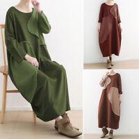 ZANZEA Women Long Sleeve Patchwork Long Shirt Dress Vintage Cotton Midi Dress