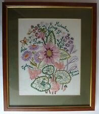Vintage wood framed embroidery picture floral/ botanical aster dahlia flowers GC