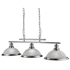 Bistro Satin Silver 3 Light Ceiling Bar Ceiling Pendant With Acid Glass Shades