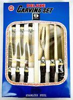 Vintage Carving Set Steak Knives 9 Pcs Faux Antler Handle Stainless Japan Deluxe