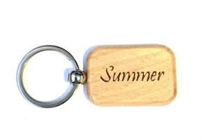 Personalised Wooden Key Fobs Keyrings Keychains Bag Charm GIfts