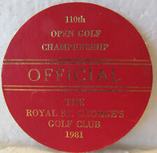 BRITISH OPEN OFFICIAL'S LEATHER ENTRANCE BADGE-1981 ROYAL ST. GEORGE'S